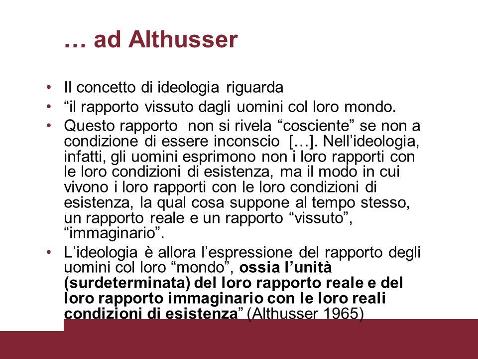 … ad Althusser Il concetto di ideologia riguarda