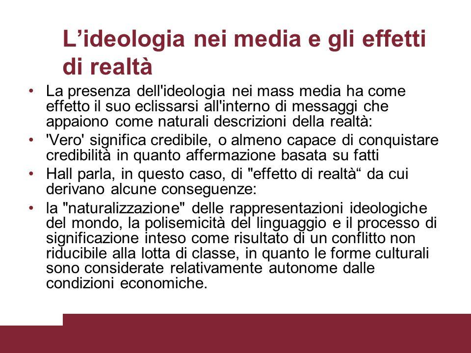L'ideologia nei media e gli effetti di realtà
