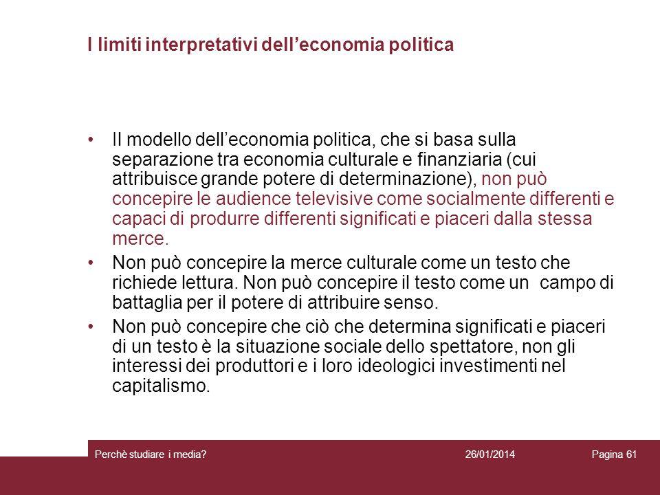 I limiti interpretativi dell'economia politica