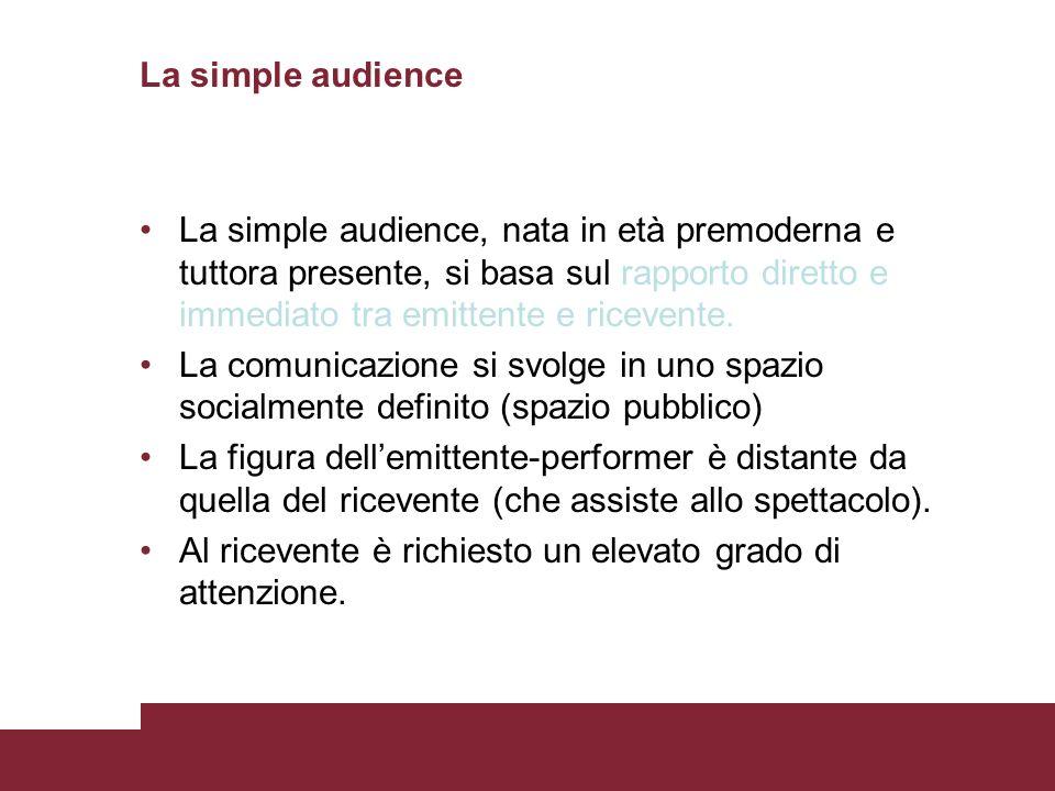 La simple audience La simple audience, nata in età premoderna e tuttora presente, si basa sul rapporto diretto e immediato tra emittente e ricevente.