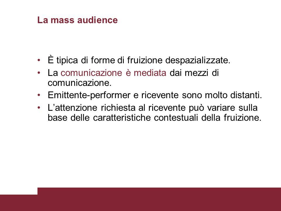 La mass audience È tipica di forme di fruizione despazializzate. La comunicazione è mediata dai mezzi di comunicazione.