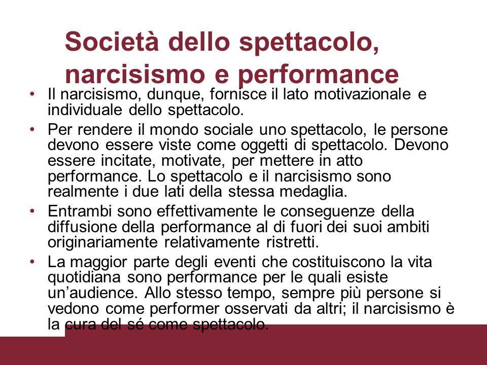 Società dello spettacolo, narcisismo e performance