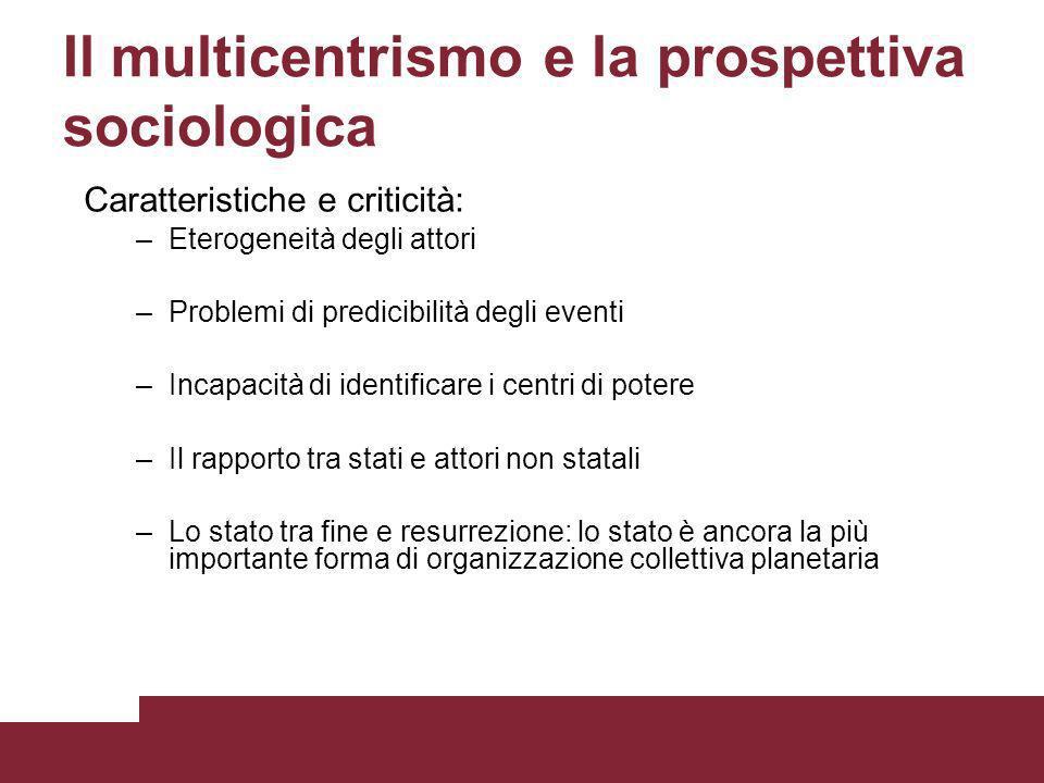 Il multicentrismo e la prospettiva sociologica