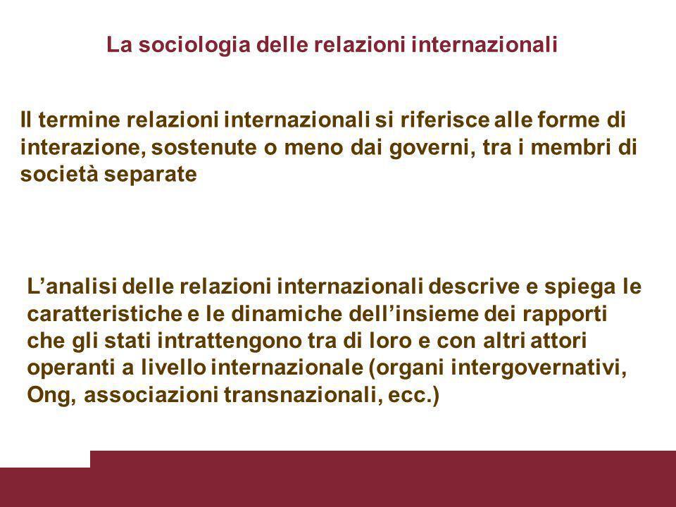 La sociologia delle relazioni internazionali