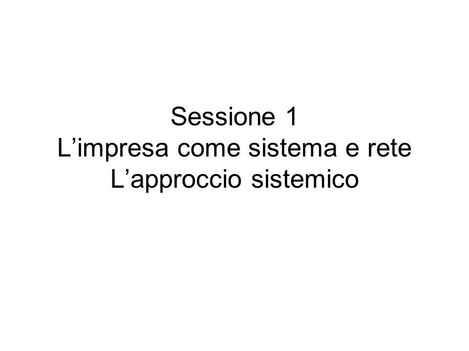 Sessione 1 L'impresa come sistema e rete L'approccio sistemico