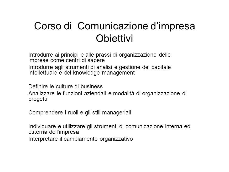 Corso di Comunicazione d'impresa Obiettivi