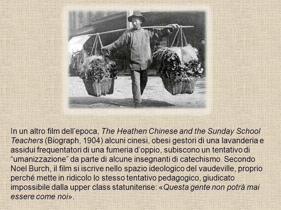 In un altro film dell'epoca, The Heathen Chinese and the Sunday School Teachers (Biograph, 1904) alcuni cinesi, obesi gestori di una lavanderia e assidui frequentatori di una fumeria d'oppio, subiscono un tentativo di umanizzazione da parte di alcune insegnanti di catechismo.