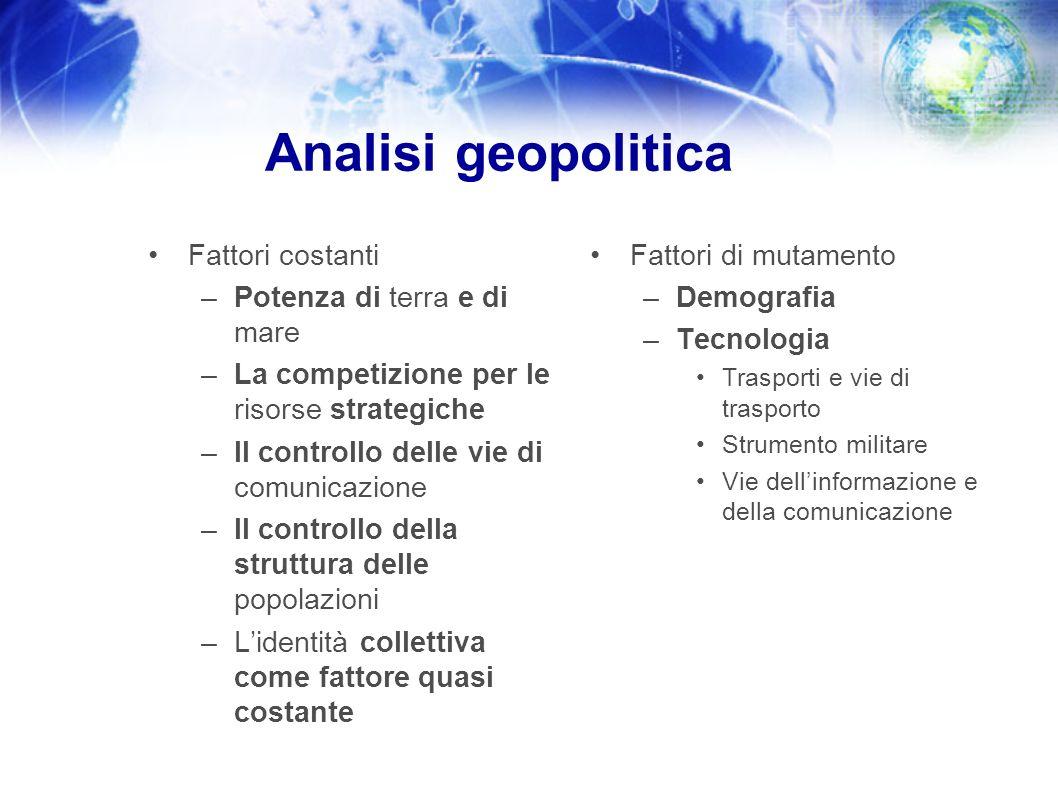 Analisi geopolitica Fattori costanti Potenza di terra e di mare