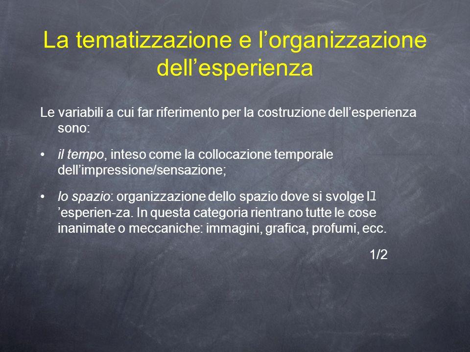 La tematizzazione e l'organizzazione dell'esperienza