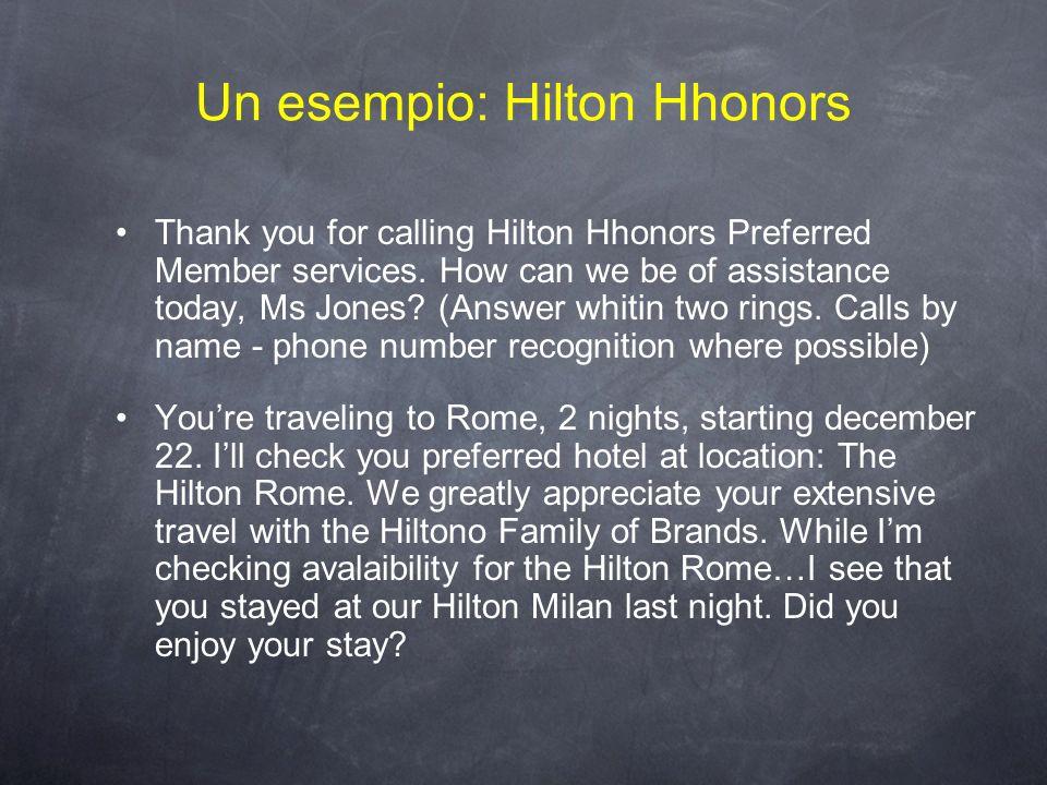 Un esempio: Hilton Hhonors