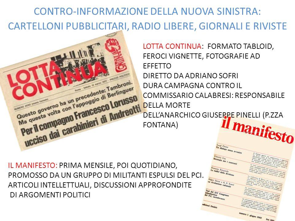 CONTRO-INFORMAZIONE DELLA NUOVA SINISTRA: CARTELLONI PUBBLICITARI, RADIO LIBERE, GIORNALI E RIVISTE