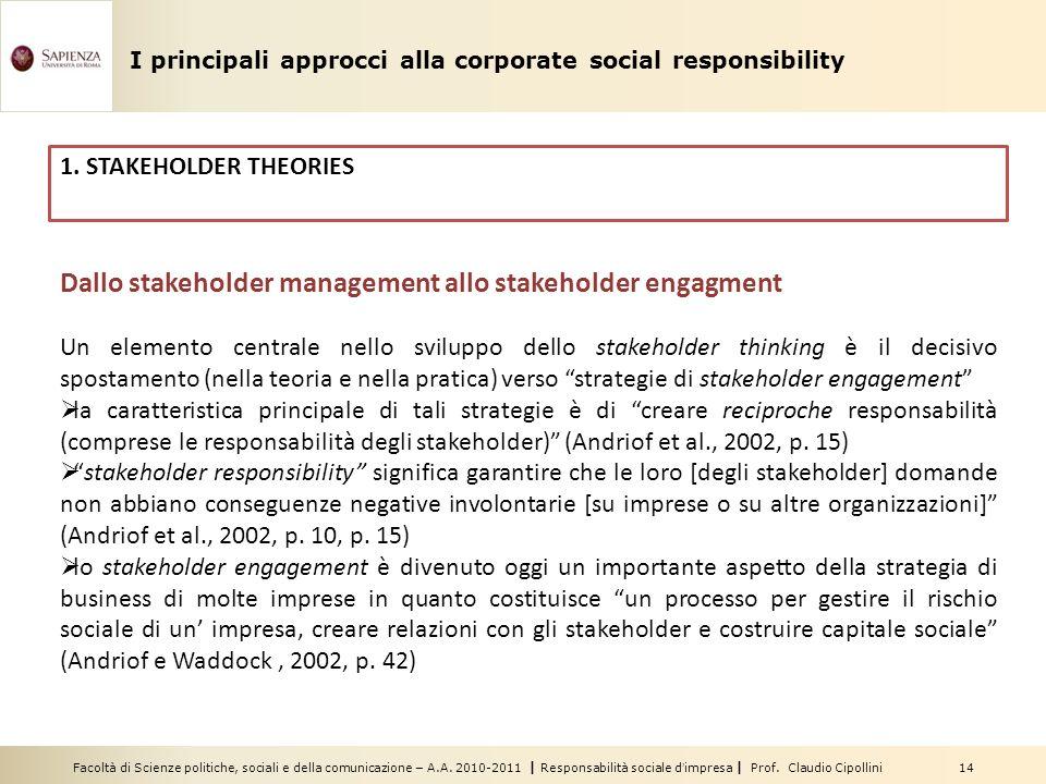Dallo stakeholder management allo stakeholder engagment