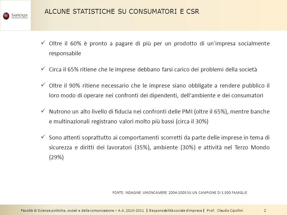 ALCUNE STATISTICHE SU CONSUMATORI E CSR