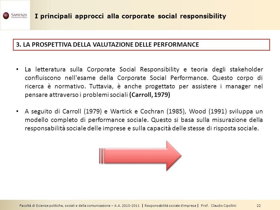 3. LA PROSPETTIVA DELLA VALUTAZIONE DELLE PERFORMANCE