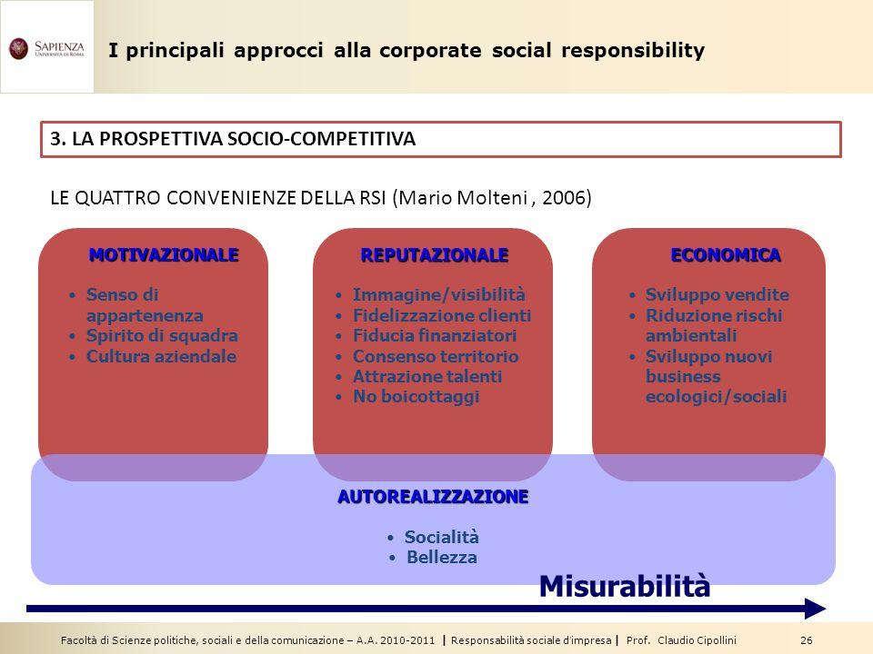 Misurabilità 3. LA PROSPETTIVA SOCIO-COMPETITIVA