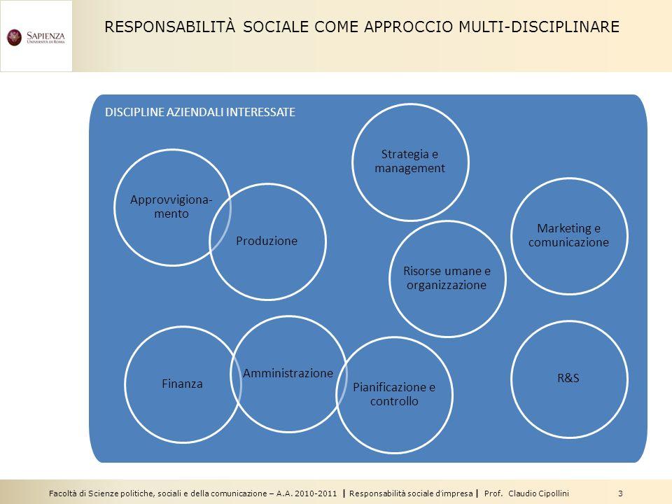 RESPONSABILITÀ SOCIALE COME APPROCCIO MULTI-DISCIPLINARE
