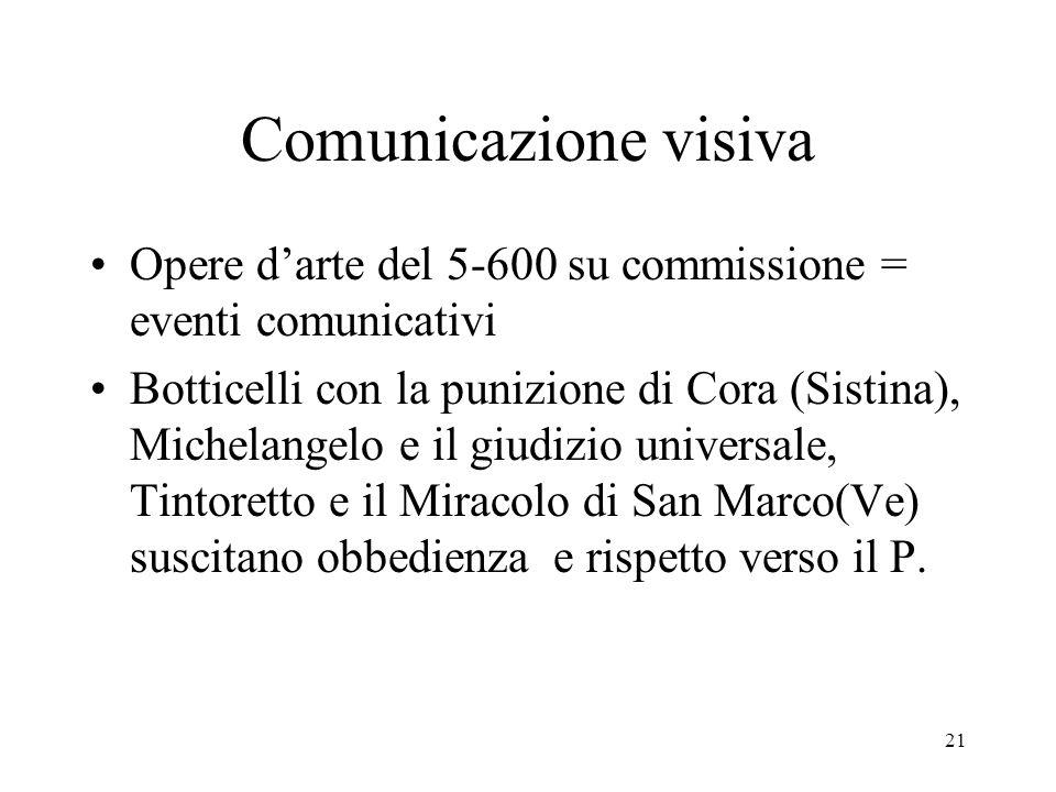 Comunicazione visiva Opere d'arte del 5-600 su commissione = eventi comunicativi.