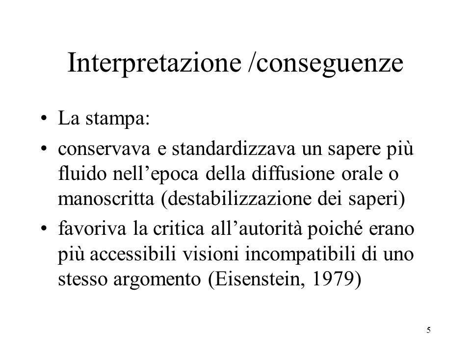 Interpretazione /conseguenze