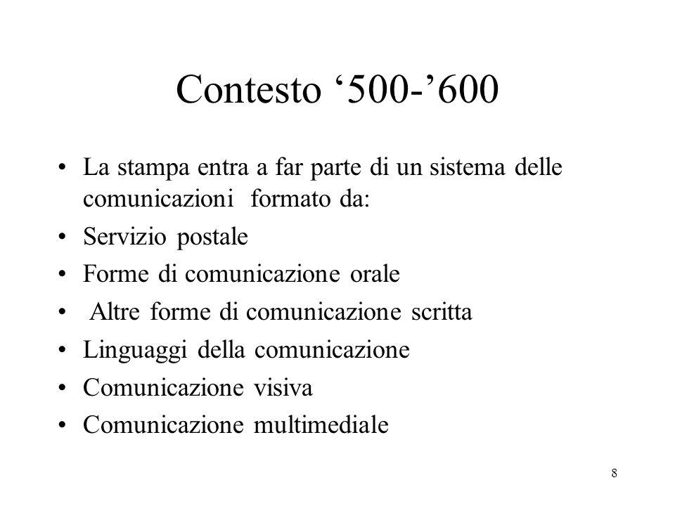 Contesto '500-'600 La stampa entra a far parte di un sistema delle comunicazioni formato da: Servizio postale.