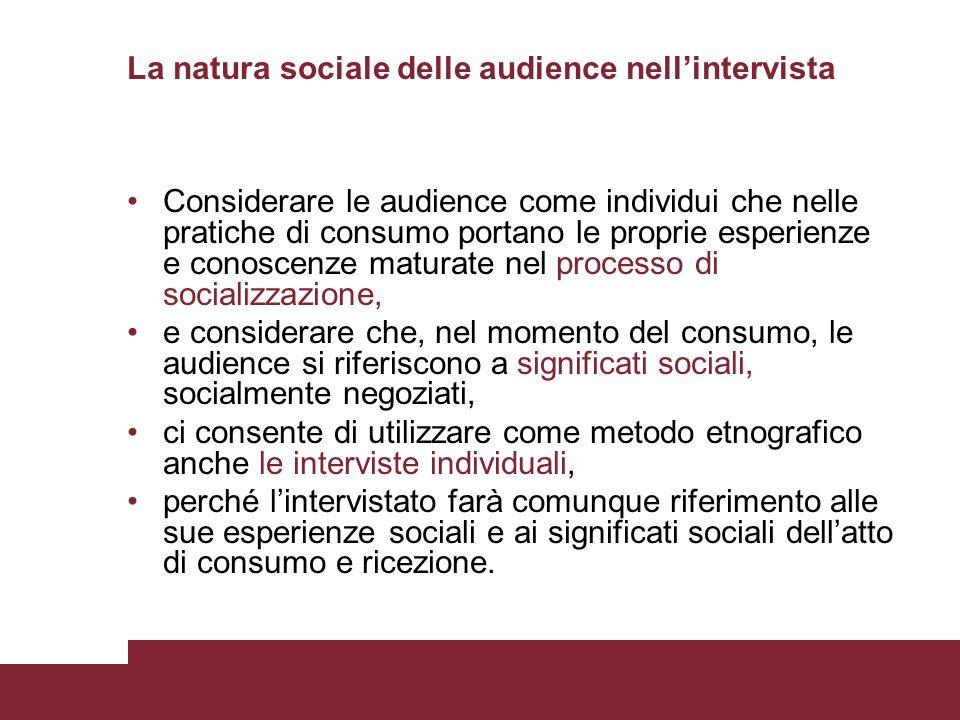 La natura sociale delle audience nell'intervista