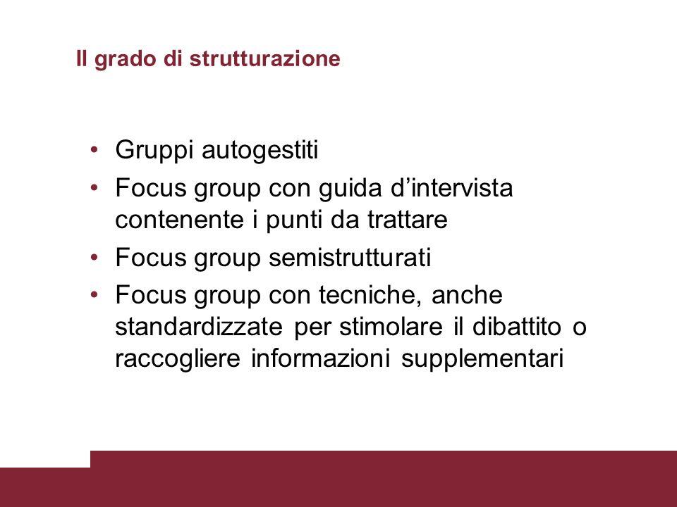 Il grado di strutturazione