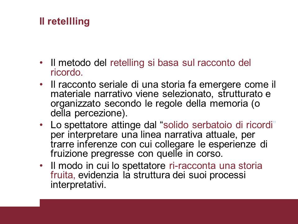 Il retellling Il metodo del retelling si basa sul racconto del ricordo.
