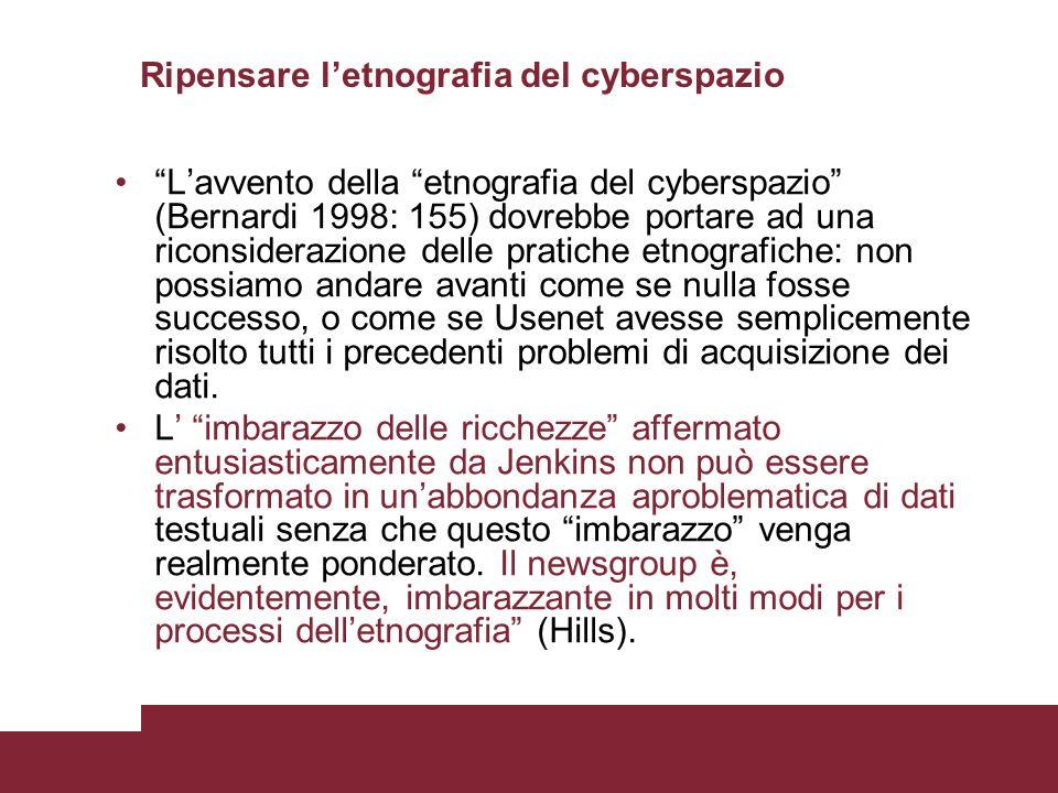 Ripensare l'etnografia del cyberspazio