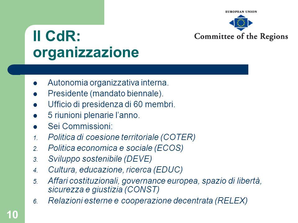 Il CdR: organizzazione