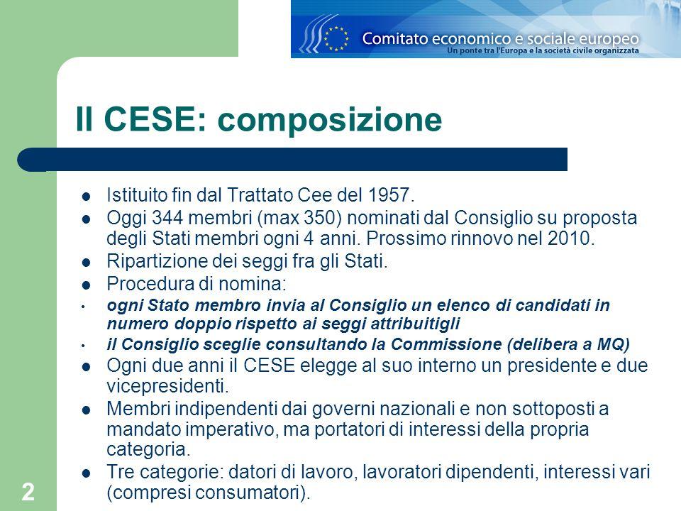 Il CESE: composizione Istituito fin dal Trattato Cee del 1957.