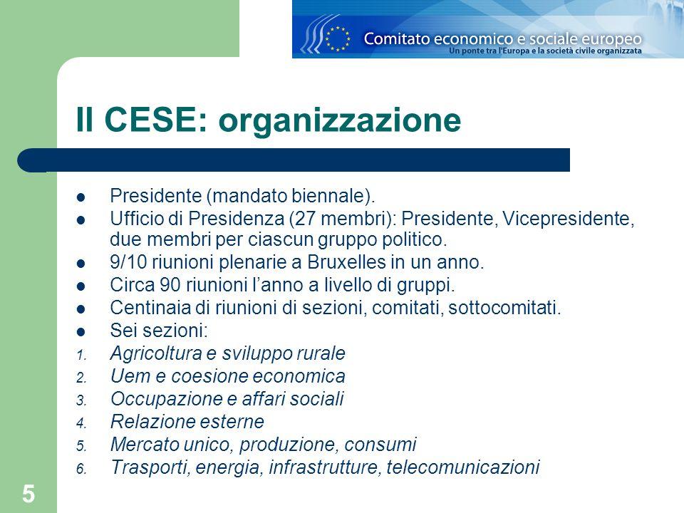 Il CESE: organizzazione