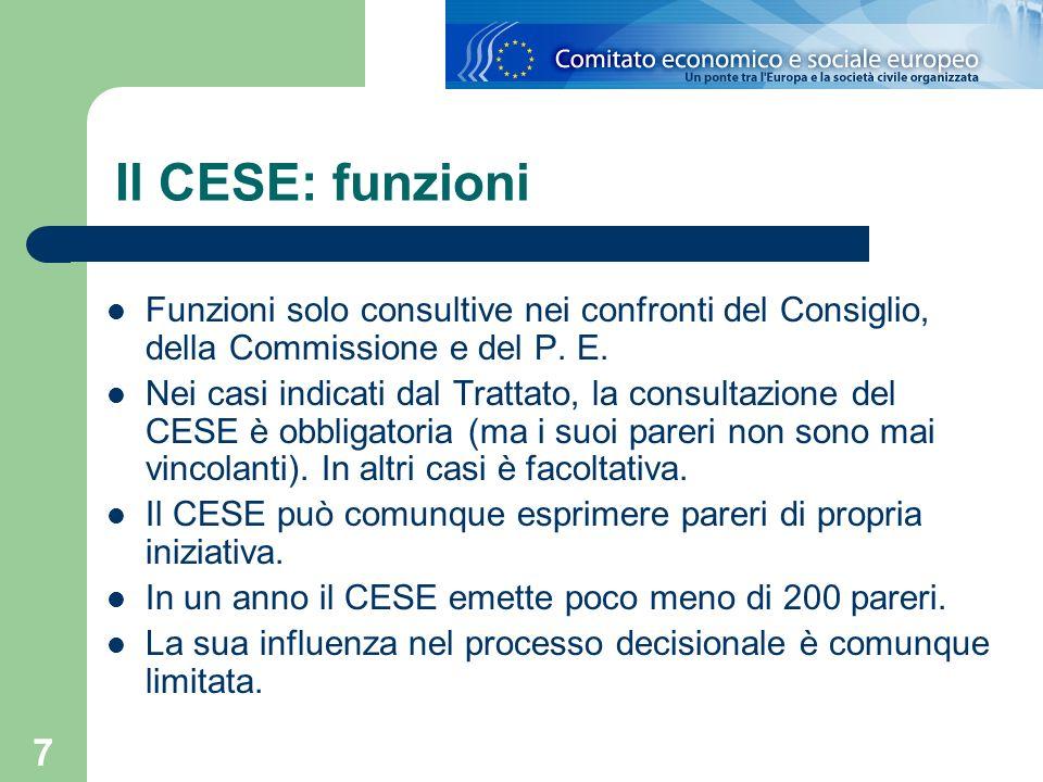 Il CESE: funzioni Funzioni solo consultive nei confronti del Consiglio, della Commissione e del P. E.