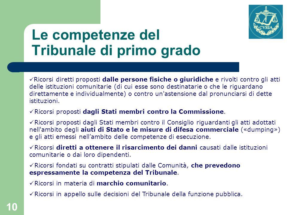 Le competenze del Tribunale di primo grado