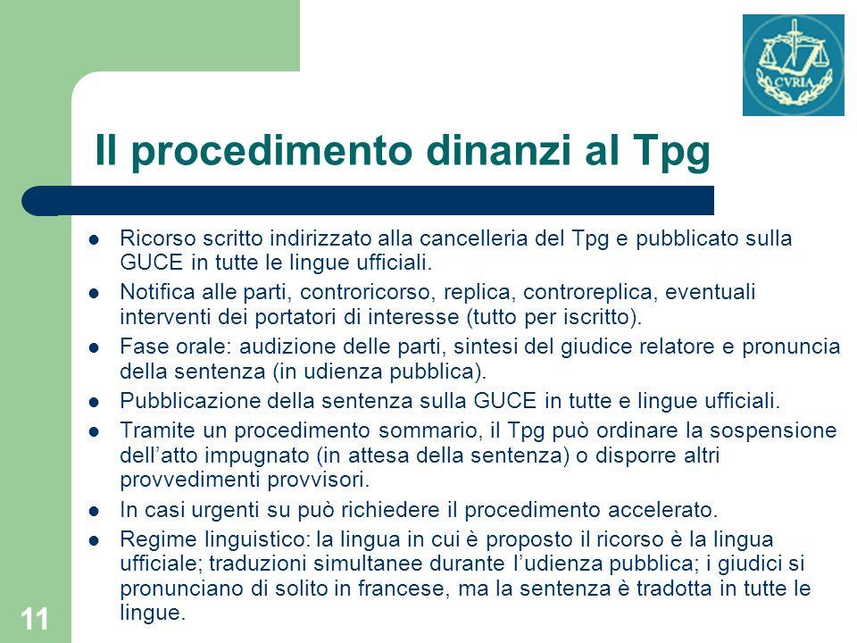 Il procedimento dinanzi al Tpg