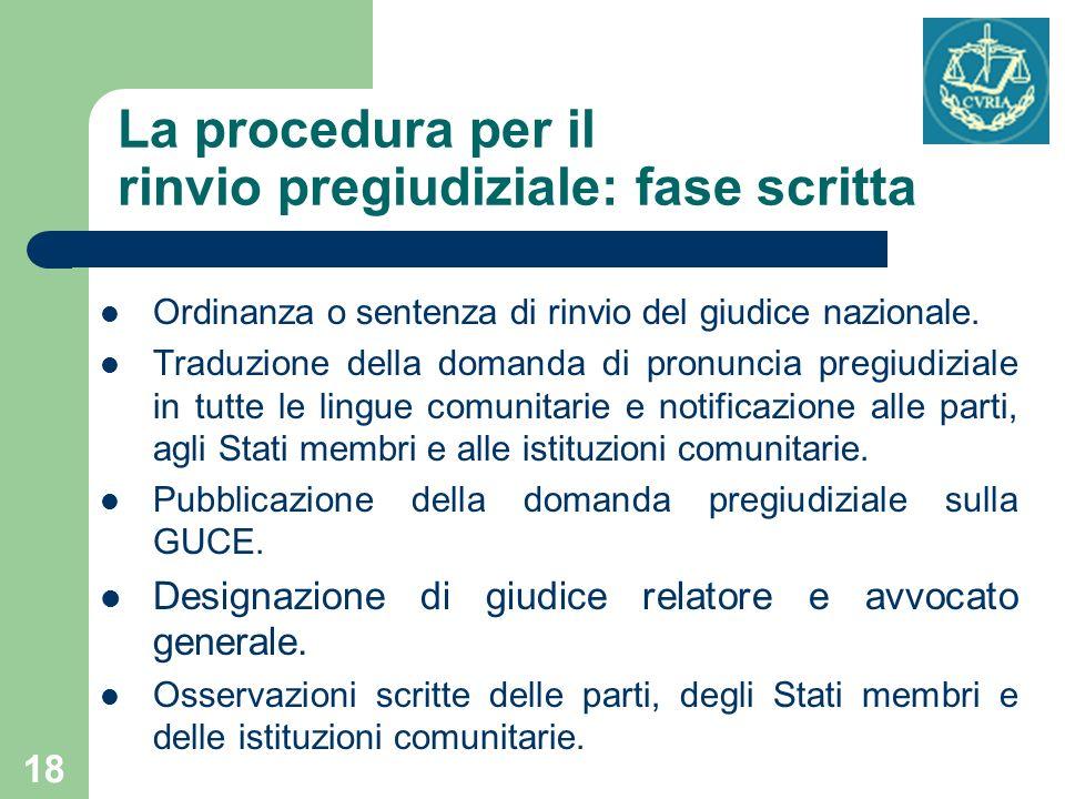 La procedura per il rinvio pregiudiziale: fase scritta