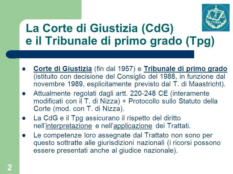 La Corte di Giustizia (CdG) e il Tribunale di primo grado (Tpg)