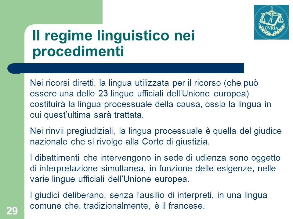 Il regime linguistico nei procedimenti