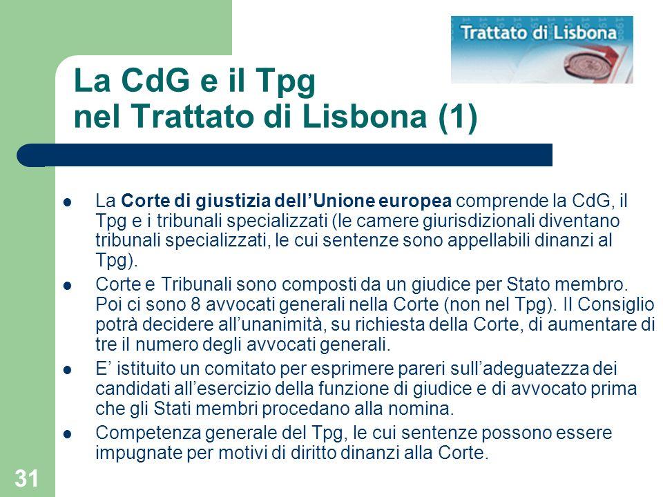 La CdG e il Tpg nel Trattato di Lisbona (1)