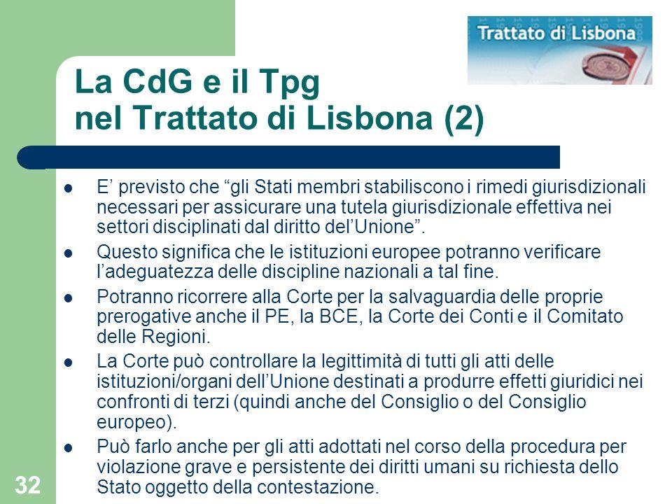 La CdG e il Tpg nel Trattato di Lisbona (2)