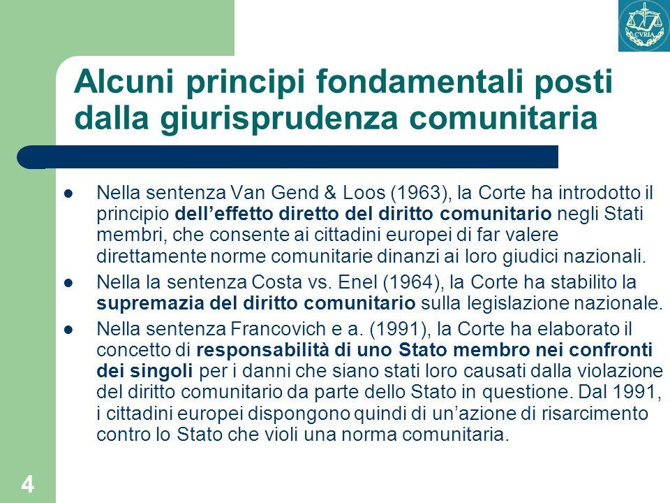 Alcuni principi fondamentali posti dalla giurisprudenza comunitaria