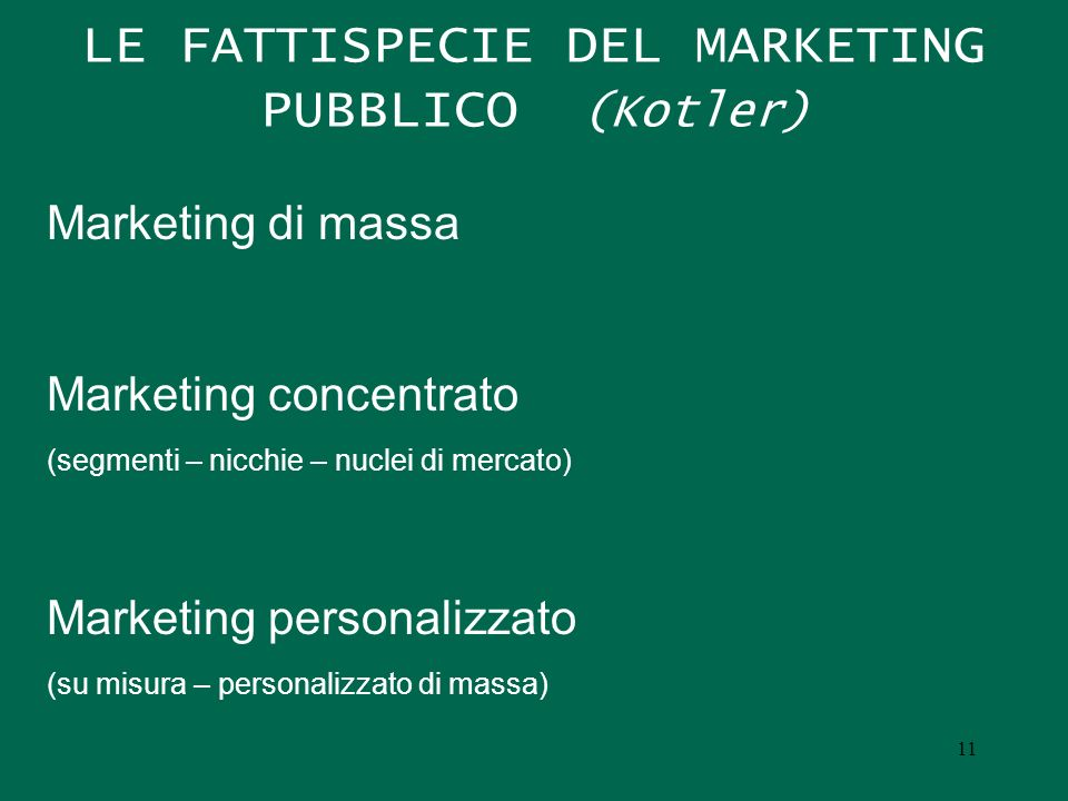 LE FATTISPECIE DEL MARKETING PUBBLICO (Kotler)