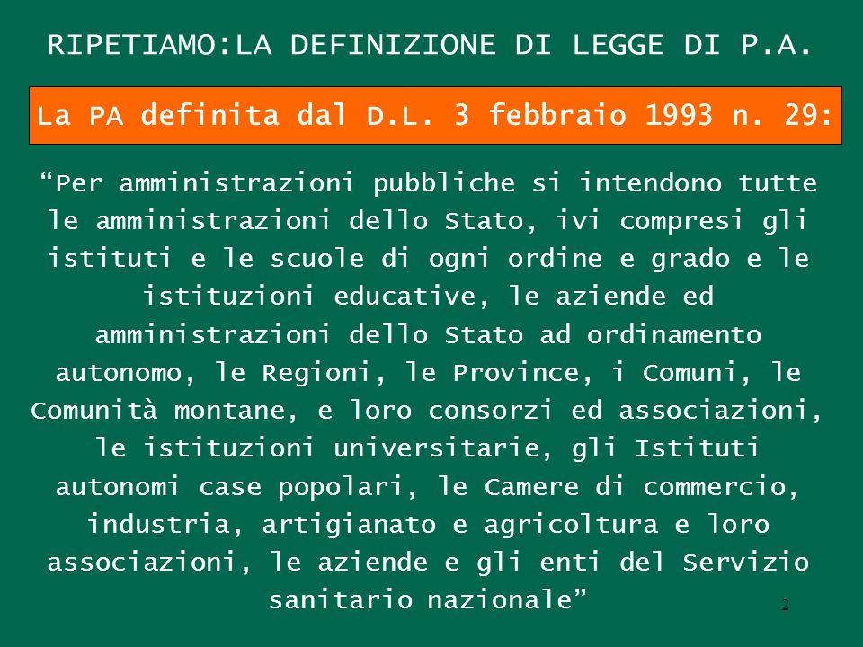 RIPETIAMO:LA DEFINIZIONE DI LEGGE DI P.A.