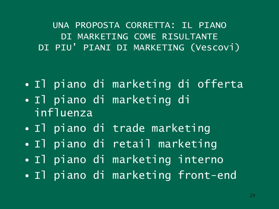 Il piano di marketing di offerta Il piano di marketing di influenza