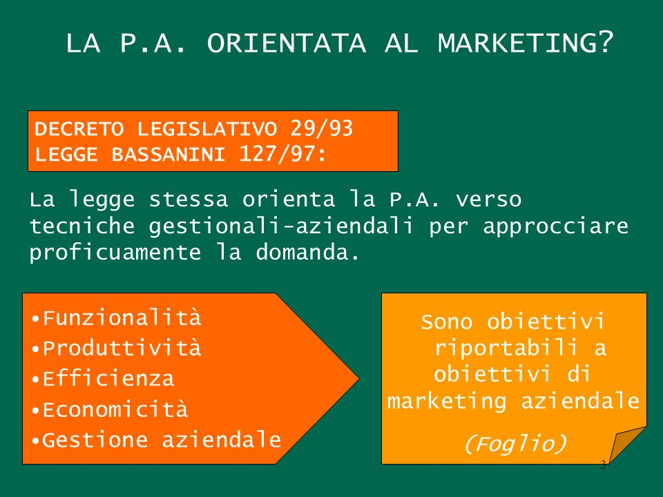 LA P.A. ORIENTATA AL MARKETING