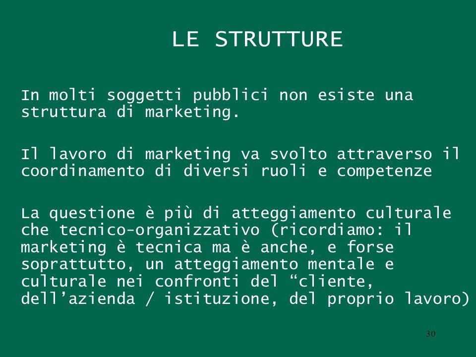 LE STRUTTURE In molti soggetti pubblici non esiste una struttura di marketing.