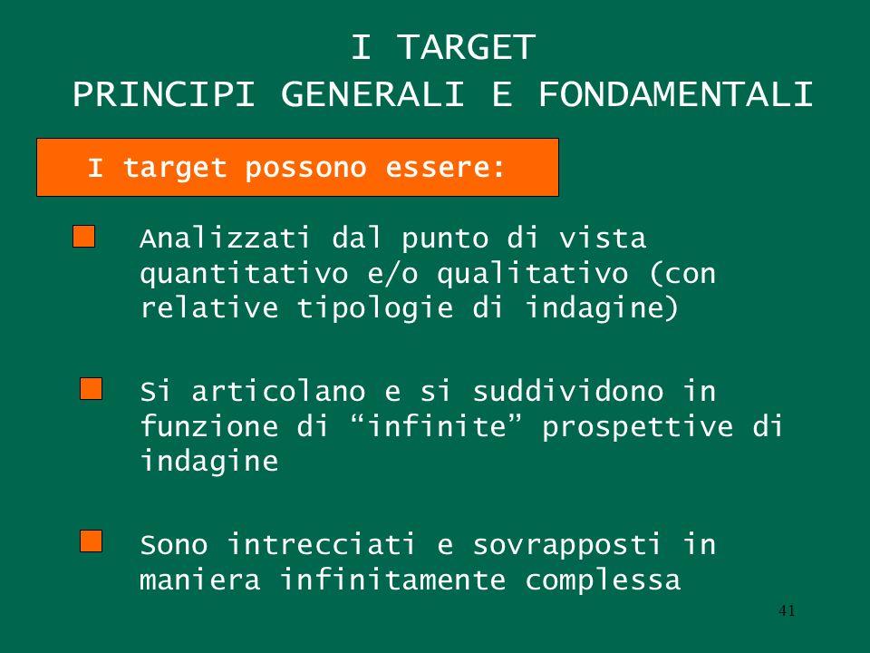 I TARGET PRINCIPI GENERALI E FONDAMENTALI