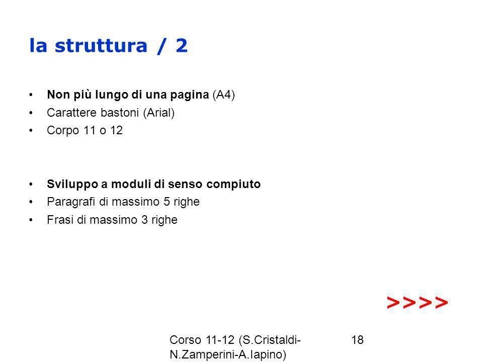 la struttura / 2 >>>> Non più lungo di una pagina (A4)
