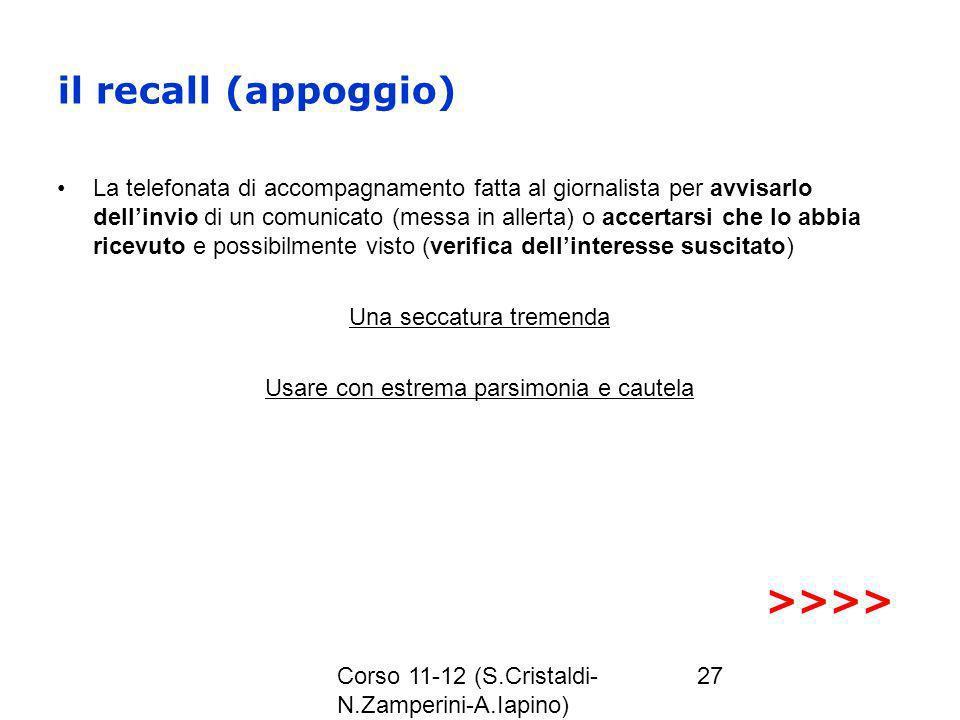 il recall (appoggio) >>>>