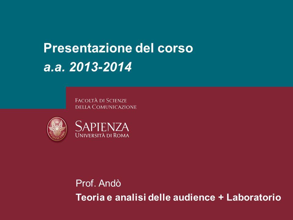 Presentazione del corso a.a. 2013-2014