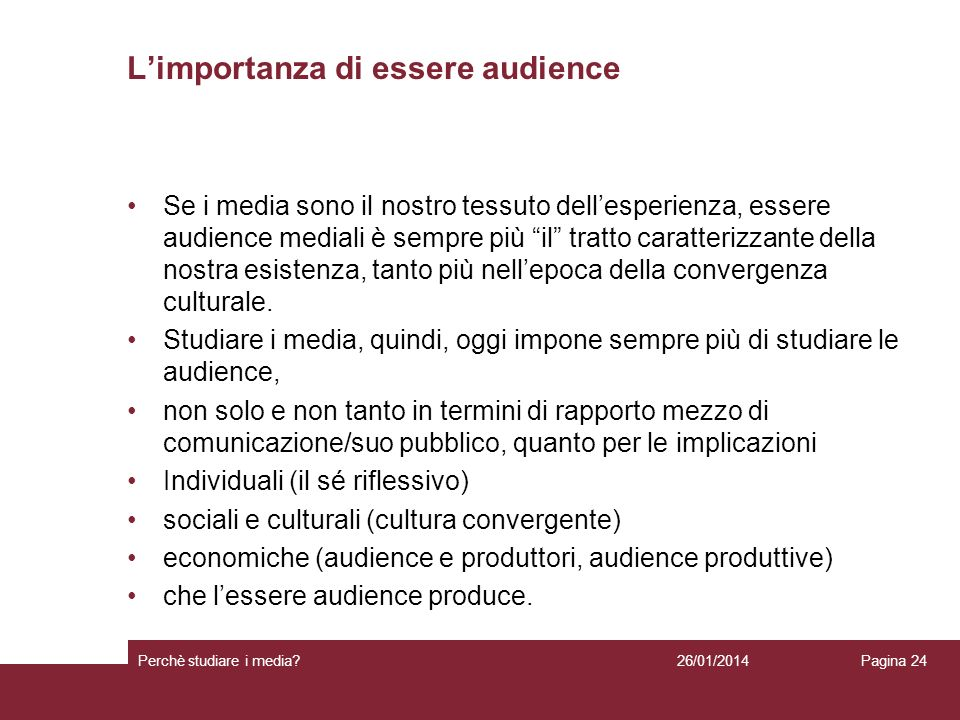 L'importanza di essere audience