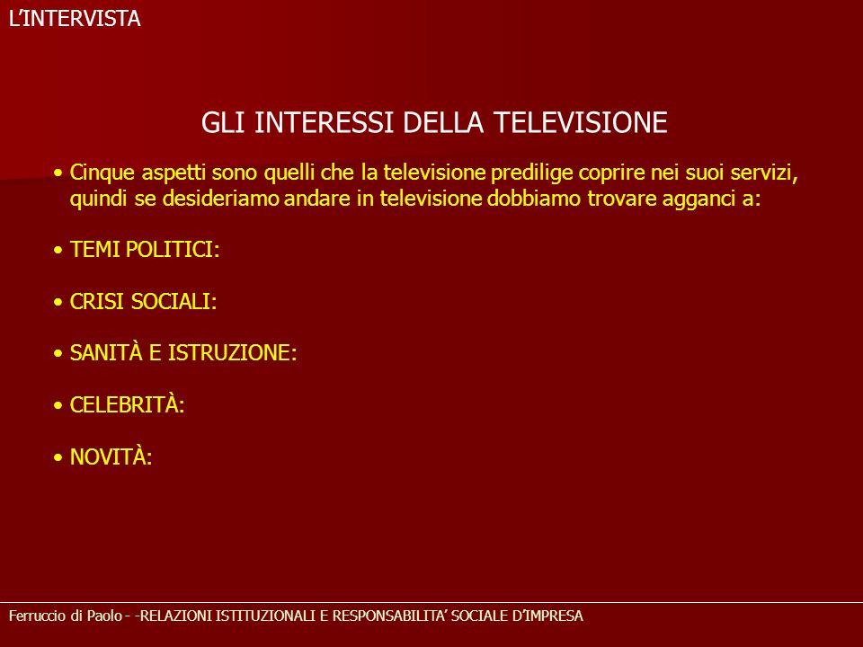 GLI INTERESSI DELLA TELEVISIONE